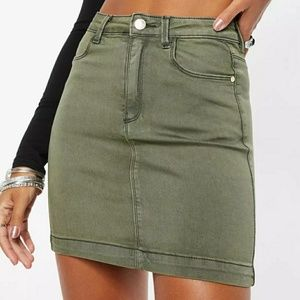 Missguided Super Stretch Denim Khaki Skirt